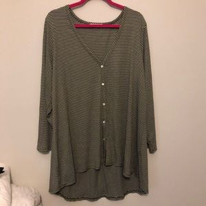 Pebble and Stone Green White Striped Top